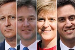 Liderii principalelor partide la alegerile generale din acest an: David Cameron (primul din stânga) rămâne în funcție, în timp ce lidera SNP, Nicola Sturgeon și-a condus formațiunea la o victorie zdrobitoare în Scoția. Nick Clegg și Ed Miliband au părăsit deja conducerea liberal-democraților, respectiv a laburiștilor.
