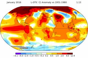 Informațiile publicate de cercetătorii care analizează impactul creșterii temperaturilor asupra planetei au semnalat creșteri de până la 4 grade Celsius în Arctica, în ianuarie 2016, față de media temperaturilor înregistrate în această lună în perioada 1951-1980 !