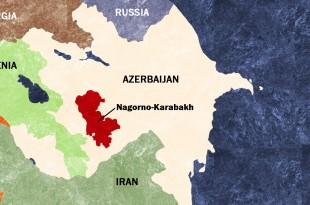 Enclava Nagorno Karabah este un ținut disputat de Azerbaidjan și Armenia care a provocat tensiuni violente după destrămarea fostei Uniuni Sovietice. Izbucnirea violențelor din ultimele zile este doar ultimul episod dintr-un șir de ciocniri violente între trupele armate azere și armene. Foto hartă: Washington Times