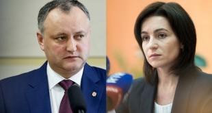 Primul tur de scrutin al alegerilor prezidențiale din Republica Moldova s-a încheiat cu victoria pro-rusului Igor Dodon (stânga), însă cu un procent insuficient pentru a evita un al doilea tur împotriva reprezentantei platofrmei pro-europene, Maia Sandu (dreapta), pe 13 noiembrie.