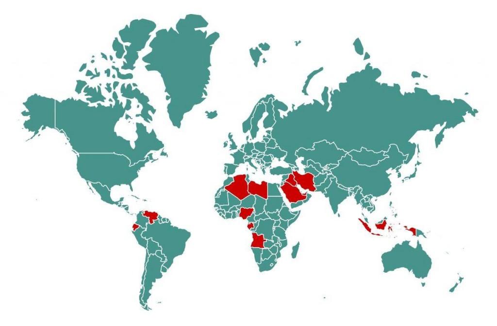 Distribuția geografică a principalelor țări producătoare de petrol - zonele marcate cu roșu