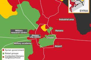O hartă a Live UEMap prezentată pe site-ul Al Jazeera arată situația distribuției forțelor din bătălia pentru Aleppo la sfârșitul lunii noiembrie. Cu roșu este marcat teritoriul deținut de forțele guvernamentale, cu verde cel al grupurilor rebele, iar cu galben zona controlată de kurzi.